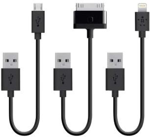 Belkin sada 15cm nabíjecích kabelů (Lightning, 30pin Apple, Micro USB)