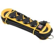 Philips prodlužovací kabel 230V, 5m, 4 zásuvky + vypínač, IP44, žlutá/černá - Phil-SPN5140YC/60