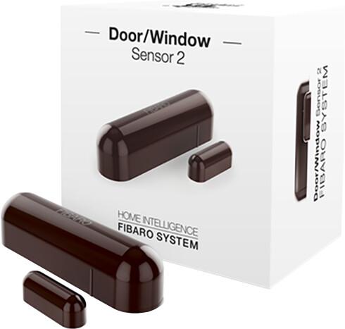 Fibaro bateriový Senzor 2 na okna a dveře, Z-Wave Plus, hnědá