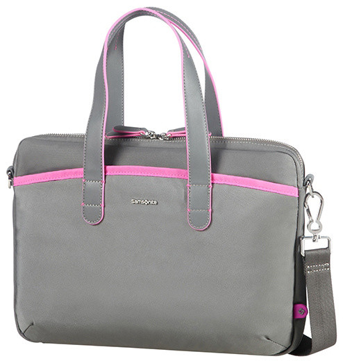 "Samsonite Nefti BAILHANDLE 13.3"" Rock Grey/Fuchsia"