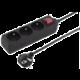 PremiumCord prodlužovací přívod 230V 2m 3 zásuvky + vypínač, černá