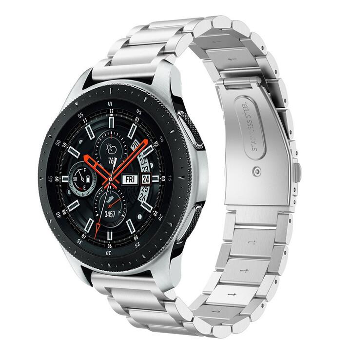 ESES kovový řemínek pro Samsung Watch 46mm/ Samsung Gear S3/ Huawei Watch 2, stříbrná