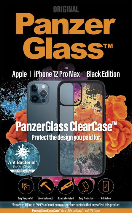 """PanzerGlass ochranný kryt ClearCase pro Apple iPhone 12 Pro Max 6.7"""", antibakteriální, černá"""