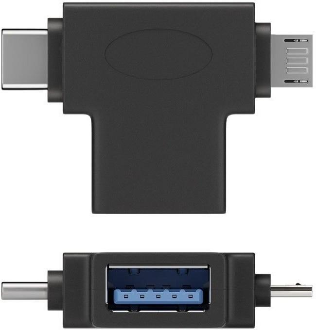 PremiumCord adaptér USB A na dva konektory USB 3.1 C/male+micro USB B/male