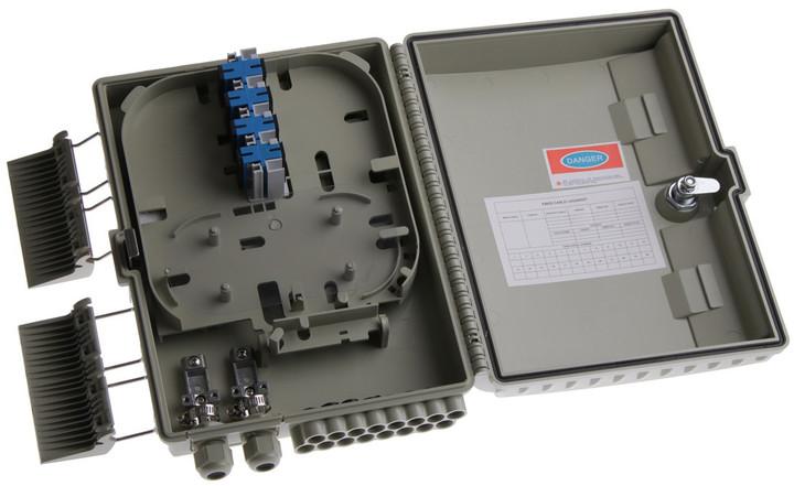 Masterlan FTTH optický spojovací box pro 16x SC, včetně kazety a spojek, šedivá
