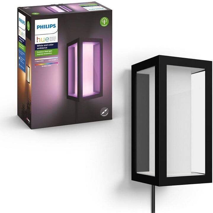 Philips Venkovní nástěnné svítidlo HUE Impress s adaptérem, LED, RGB, 16W, černá