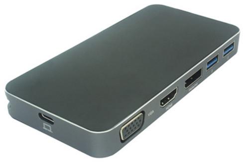 PremiumCord převodník USB3.1 typ C na HDMI + VGA + DisplayPort + 2xUSB3.0 + PD charge