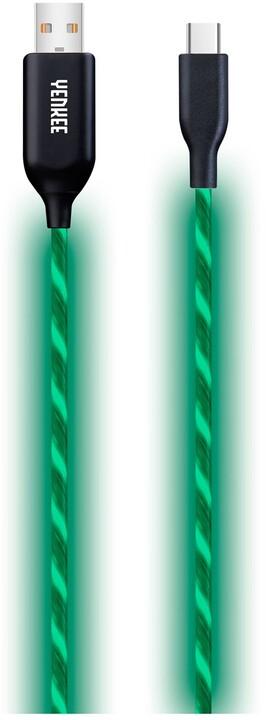YENKEE YCU 341 nabíjecí kabel USB-C, LED, 1m, zelená