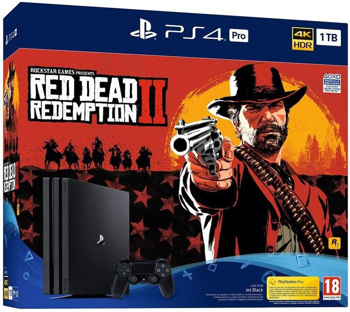 PlayStation 4 Pro, 1TB, černá + Red Dead Redemption 2