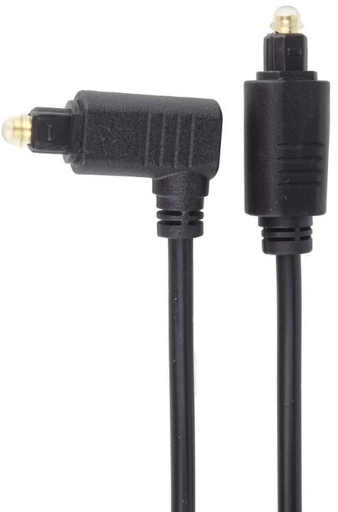 PremiumCord kabel Toslink - Toslink 90°, M/M, tloušťka 4.0mm, 2m, černá