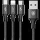 Baseus kabel Rapid Series 3-in-1 Micro + Lightning + Type-C 3A 1.2M, černá