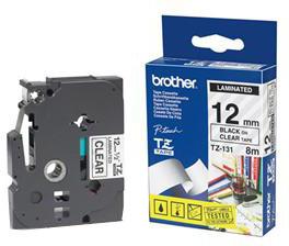 Brother TZE-131, průsvitná/černá, 12mm