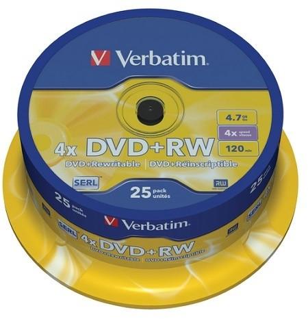 Verbatim DVD+RW 4x 4,7GB spindl 25ks