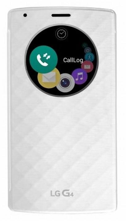 LG flipové pouzdro QuickCircle CFR-100 pro bezdrátové nabíjení pro LG H815 G4, bílá