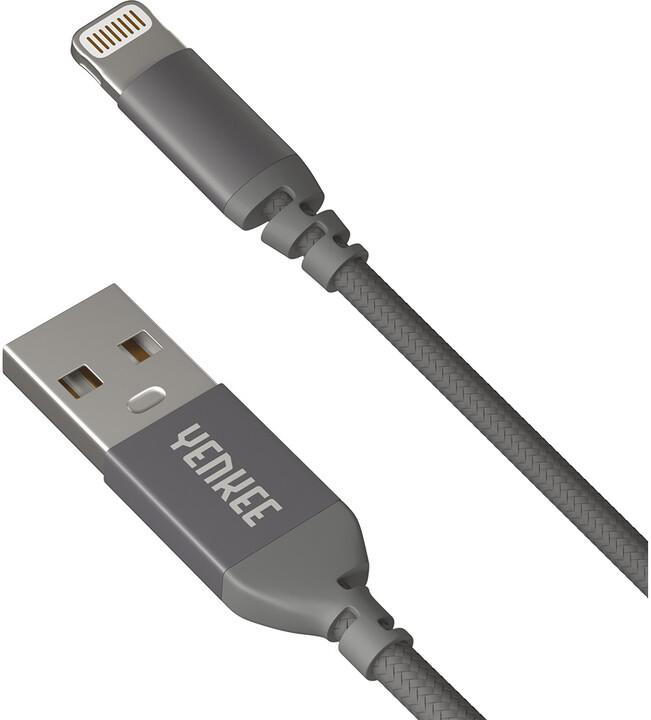 YENKEE YCU 611 USB / lightning 1m, šedý
