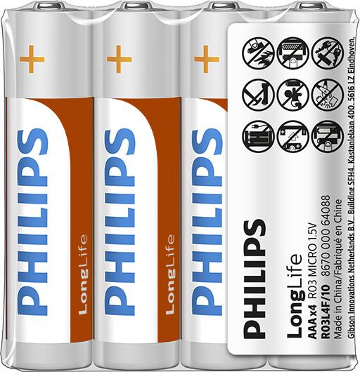 Philips AAA LongLife zinkochloridová - 4ks