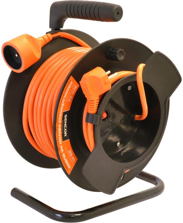 Sencor prodlužovací přívod, 1 zásuvka, buben, 25m, oranžová