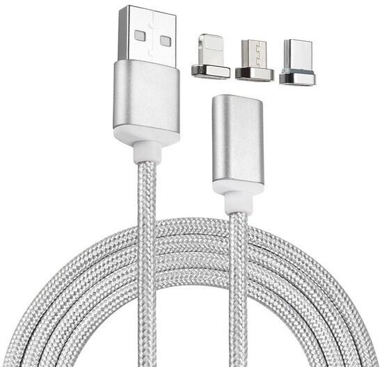 Mobilly 3v1 microUSB, Lightning, USB-C nabíjecí magnetický kabel