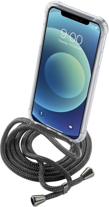 Cellularline zadní kryt s černou šňůrkou na krk pro Apple iPhone 12 Mini, transparentní