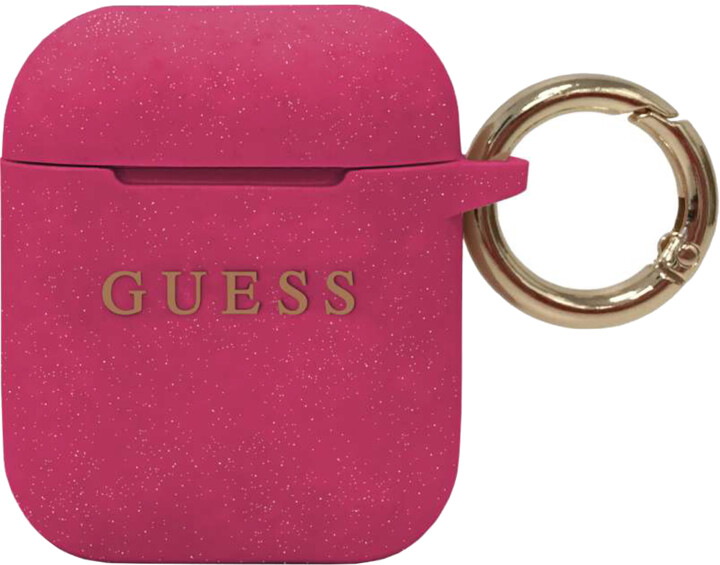 Guess silikonový kryt pro Apple Airpods, růžová
