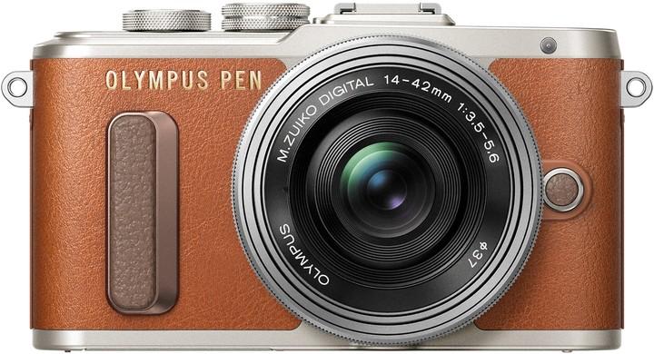 Olympus E-PL8 tělo + 14-42mm, hnědá/stříbrná Traveler Kit