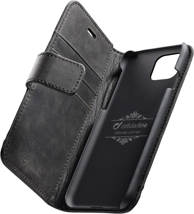 Cellularline prémiové kožené pouzdro typu kniha Supreme pro Apple iPhone 11, černá