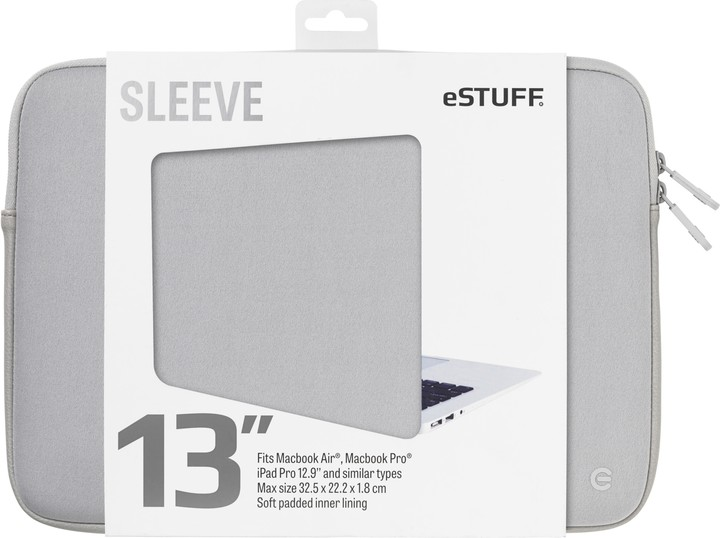 eSTUFF Macbook Air, iPad Pro 13'' Sleeve - Fits Macbook Pro, grey