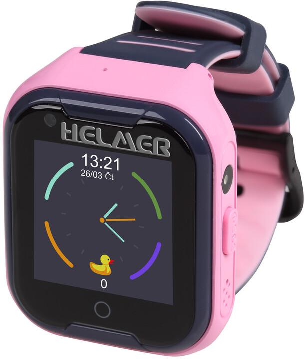 HELMER dětské hodinky LK 709 s GPS lokátorem, dotykový display, růžové