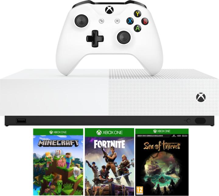 XBOX ONE S All-Digital, 1TB, bílá + Minecraft, Fortnite, Sea of Thieves