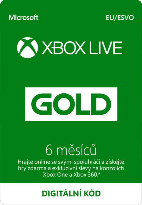 Microsoft Xbox Live zlaté členství 6 měsíců - elektronicky