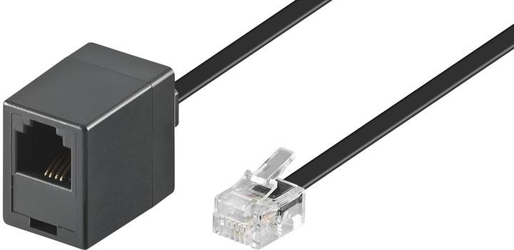 PremiumCord Kabel prodlužovací telefonní rovný 6P4C plug - 6P4C jack 10m, černá