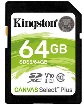 Kingston SDXC Canvas Select Plus 64GB 100MB/s UHS-I