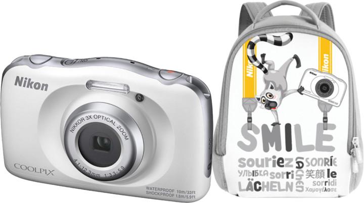 Nikon Coolpix W150, bílá + Backpack kit