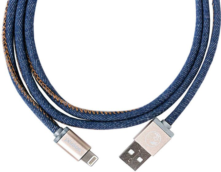 PlusUs LifeStar Handcrafted USB Charge & Sync cable (25cm) Lightning - Blue / Light Gold / Bronze