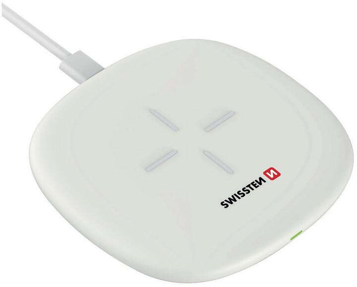 SWISSTEN bezdrátová nabíječka, 10W, bílá + USB-C kabel