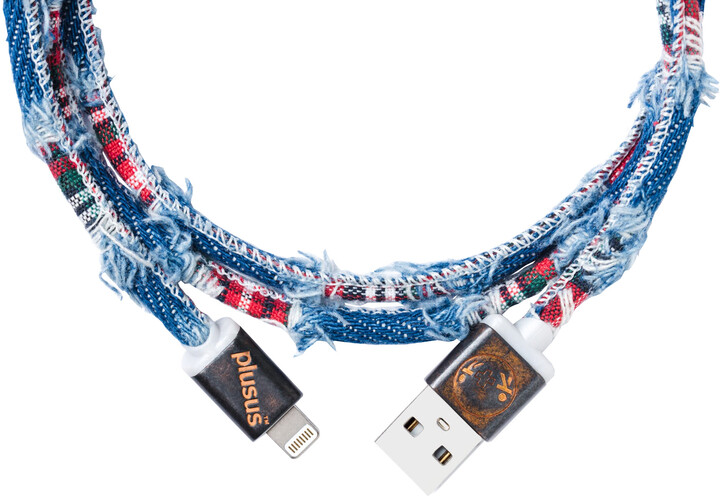 PlusUs LifeStar Premium Handcrafted USB Charge & Sync cable (1m) Lightning - Medium Blue