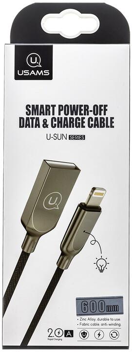 USAMS SJ418 Smart power off datový kabel Lightning, černá (EU Blister)