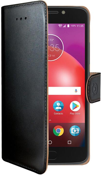 CELLY Wally pouzdro typu kniha pro Lenovo Moto E4, PU kůže, černé