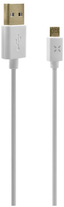 FIXED oboustranný datový kabel TO microUSB s konektorem microUSB, 1m, bílý