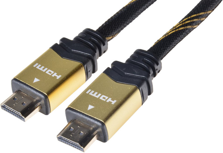 PremiumCord GOLD HDMI High Speed + Ethernet kabel, zlacené konektory, 3m