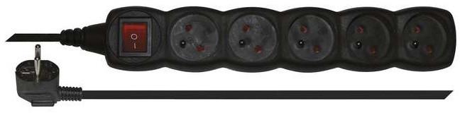 Emos prodlužovací kabel s vypínačem 5 zásuvek 3m, černá