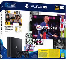PlayStation 4 Pro, 1TB, Gamma chassis, černá + FIFA 21 + 2x DualShock 4 - PS719835226