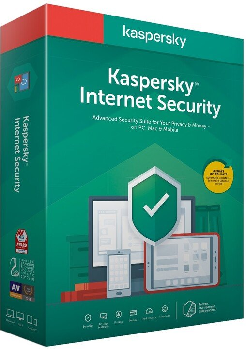 Kaspersky Internet Security CZ, 3 zařízení, 1 rok, obnova licence, BOX