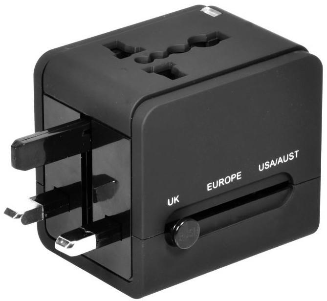 PORT CONNECT univerzální cestovní adaptér, 2xUSB, černá