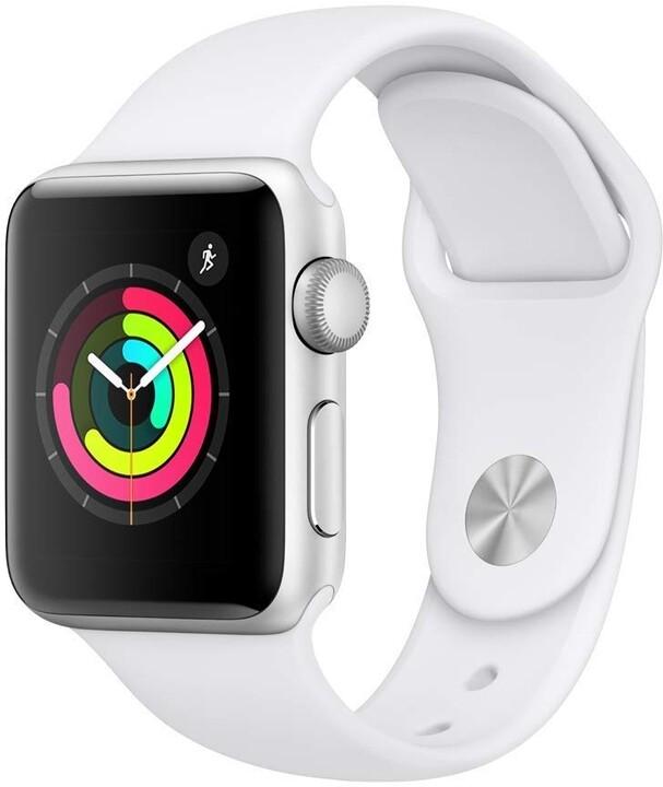 Apple Watch Series 3 38mm stříbrný hliník s bílým sportovním řemínkem