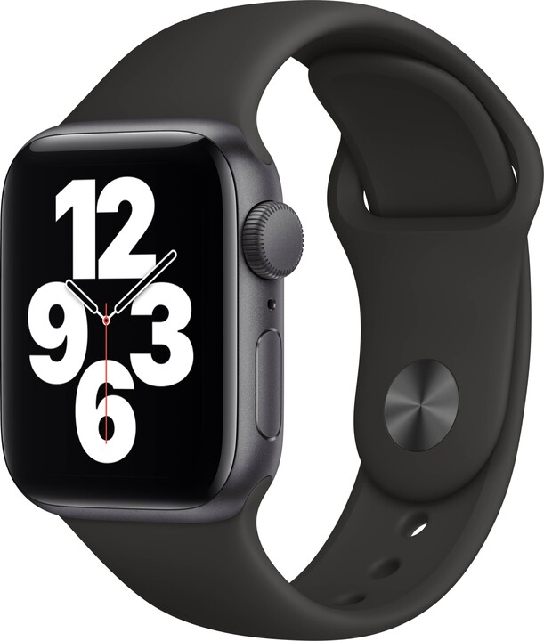Apple Watch SE, 40mm, Space Gray, Black Sport Band