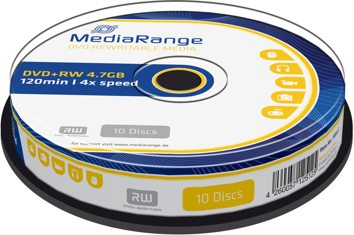 MediaRange DVD+RW 4,7GB 4x, Spindle 10ks