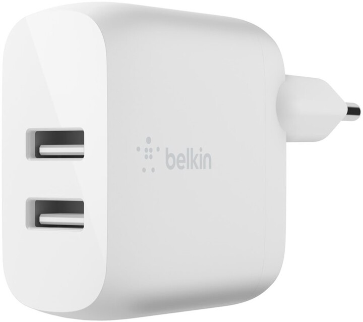 Belkin síťová nabíječka 2xUSB-A, 24W, bílá + kabel microUSB - USB-A