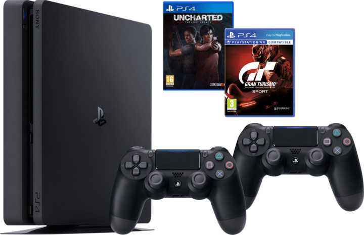 PlayStation 4 Slim, 1TB, černá + 2x DS4 + GT Sport + Uncharted Lost Legacy