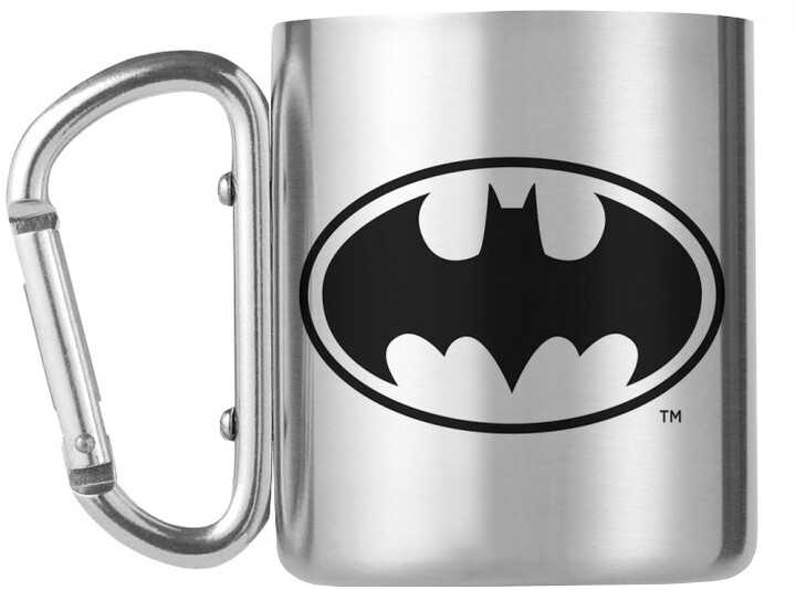 Hrnek DC Comics - Batman logo, kovový s karabinou